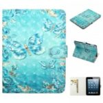 Embossment Patterned Light Spot Decor Leather Cover for iPad 4 / iPad 3 /  iPad 2 – Blue Butterfly