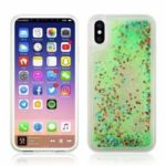 Dynamic Glitter Powder Sequins Patterned TPU+PC Phone Shell for iPhone X – Green