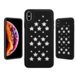 Creative Star-shaped Hollow Rhinestone Decoration TPU Frame Leather Coated PC Back Hybrid Case for iPhone XS Max 6.5 inch – Black