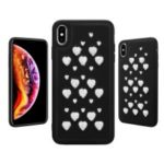 Creative Heart-shaped Hollow Rhinestone Decor TPU Frame Leather Coated PC Back Hybrid Case for iPhone XR 6.1 inch – Black