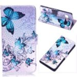 Laser Carving Pattern Printing Wallet Leather Case with Strap for Samsung Galaxy S10 5G – Blue Butterfly