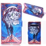 Laser Carving Pattern Printing Wallet Leather Case with Strap for Samsung Galaxy S10 5G – Tribal Feather Skull