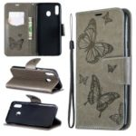 Imprint Butterfly Leather Wallet Phone Case Cover for Samsung Galaxy M20 – Grey