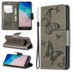 Imprint Butterfly Leather Wallet Phone Case for Samsung Galaxy S10 – Grey