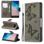 Imprint Butterfly Leather Cover Wallet Phone Case for Samsung Galaxy S10 Plus – Grey