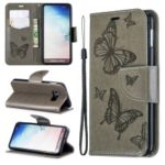 For Samsung Galaxy S10e PU Leather Imprint Butterflies Phone Case – Grey