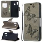 For Samsung Galaxy A30 / A20 PU Leather Imprint Butterflies Phone Case – Grey