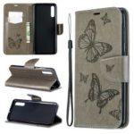 For Samsung Galaxy A70 PU Leather Imprint Butterflies Phone Case Butterflies Phone Case – Grey