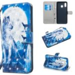 Patterned Leather Stand Protection Case [Light Spot Decor] for Samsung Galaxy A30 / A20 – Moon and Wolf