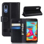 Split Leather Wallet Flip Stand Case for Samsung Galaxy A2 Core – Black