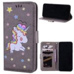 Flash Powder Unicorn Pattern Leather Wallet Case for Samsung Galaxy J6 Plus – Grey