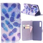 Laser Carving Pattern Printing Leather Wallet Case for Samsung Galaxy A7 (2018) A750 – Pineapple