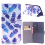 Laser Carving Pattern Printing Wallet Leather Case with Strap for Samsung Galaxy J4 Plus – Pineapple
