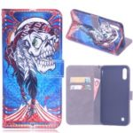 Laser Carving Pattern Printing Wallet Leather Case with Strap for Samsung Galaxy M10 – Tribal Feather Skull