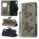 Imprint Butterfly Leather Wallet Case for Samsung Galaxy A10/M10 – Grey