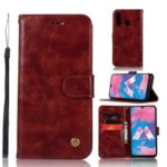 Premium Vintage Leather Wallet Case for Samsung Galaxy M30 – Wine Red