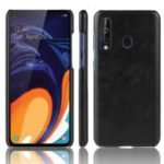 Litchi Texture PU Leather Coated Hard PC Phone Casing for Samsung Galaxy A60 – Black