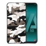 For Samsung Galaxy A50 Camouflage Pattern TPU Cover Phone Case – White