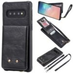 Kickstand PU Leather Coated TPU Phone Cover with Card Holders for Samsung Galaxy S10 – Black