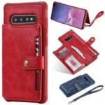 PU Leather Coated TPU Case Wallet Kickstand Case for Samsung Galaxy S10 Plus – Red