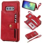 PU Leather Coated TPU Case Wallet Kickstand Case for Samsung Galaxy S10e – Red