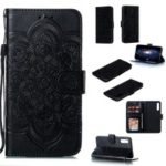 For Samsung Galaxy A50 Imprint Mandala Flower Leather Wallet Case Phone Cover – Black