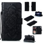 For Samsung Galaxy M10 Imprint Mandala Flower Wallet Leather Cover Phone Case – Black