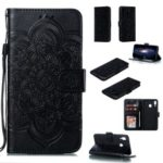 For Samsung Galaxy M20 Imprint Mandala Flower Leather Wallet Case Phone Cover – Black