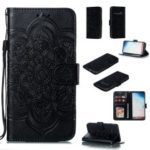 For Samsung Galaxy S10 Imprint Mandala Flower Leather Wallet Phone Case Cover – Black