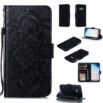 For Samsung Galaxy S10e Imprint Mandala Flower Leather Wallet Phone Cover Case – Black