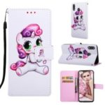 Pattern Printing Wallet Stand Leather Casing for Samsung Galaxy M20 – Lovely Unicorn