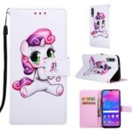 Pattern Printing Wallet Stand Leather Cover for Samsung Galaxy M30/A40s – Lovely Unicorn