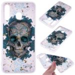 Glitter Sequins Inlaid Patterned TPU Phone Cover for Samsung Galaxy M20 – Skull