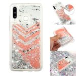 For Samsung Galaxy A60 Moving Glitter Powder Sequins Patterned TPU Protection Case – Marble and Chevron