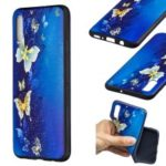 Embossment Patterned TPU Case Accessory for Samsung Galaxy A70 – Blue Butterfly