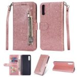 Glitter Powder Zippered Stand Leather Wallet Case with Strap for Samsung Galaxy A70 – Rose Gold