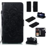 Imprint Mandala Flower Stand Wallet Leather Case for Samsung Galaxy A20e – Black