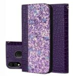 Crocodile Texture Glittery Sequins Splicing PU Leather Auto-absorbed Case for Samsung Galaxy M20 – Purple