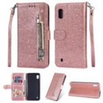 Glitter Powder Zippered Stand Leather Wallet Case with Strap for Samsung Galaxy A10 – Rose Gold