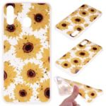 Glitter Sequins Inlaid Patterned TPU Phone Cover for Samsung Galaxy A40 – Sunflowers