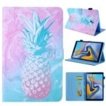 Pattern Printing Card Slots Auto Wake & Sleep Leather Phone Case Cover for Samsung Galaxy Tab A2 T590 / T595 – Pineapple