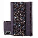 Crocodile Texture Glittery Sequins Splicing Leather Flip Case with Card Slot for Samsung Galaxy M10 – Black