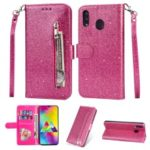 Flash Powder Zippered Stand Leather Wallet Cover with Strap for Samsung Galaxy M20 – Rose