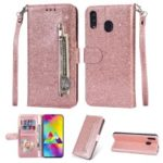 Flash Powder Zippered Stand Leather Wallet Cover with Strap for Samsung Galaxy M20 – Rose Gold