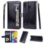 Glitter Powder Zippered Stand Leather Wallet Case with Strap for Samsung Galaxy A30 – Black