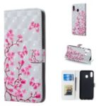Pattern Printing [Light Spot Decor] PU Leather Stand Wallet Flip Case for Samsung Galaxy M20 – Flower and Butterflies