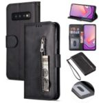 Zipper Wallet Flip Stand Leather Case with Strap for Samsung Galaxy S10 Plus – Black
