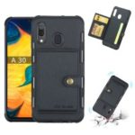 Brushed Card Slots PU Leather Coated Hard Plastic Case for Samsung Galaxy A30/A20 – Black