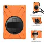 [Built-in Hand Holder Strap] 360° Swivel PC + Silicone Combo Kickstand Shell with Shoulder Strap for Samsung Galaxy Tab A 10.1 (2019) SM-T515 – Orange