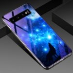 Blue-ray Tempered Glass+PC Back Plate+Plated TPU Frame Hybrid Phone Shell for Samsung Galaxy S10 – Starry Sky and Wolf